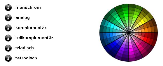 Farbschema Unterteilungen