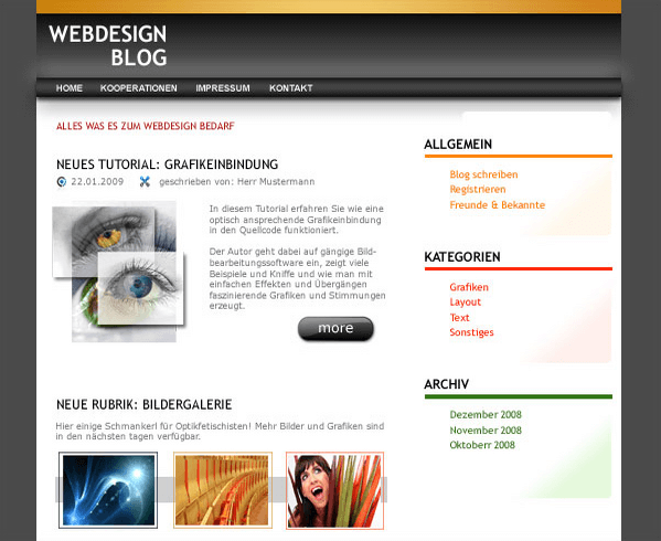 Tutorial Website Endergebnis
