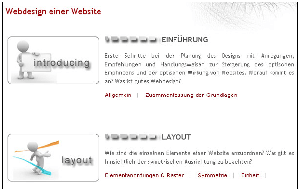Webdesign Gruppierung